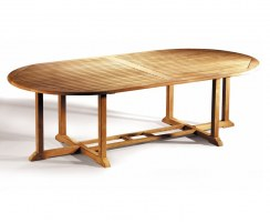 Hilgrove Solid Teak Wood Oval Fixed Garden Dining Table – 1.3 x 2.6m