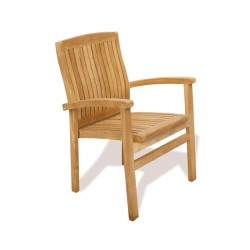 Hilgrove Rectangular 1.8m Table & 6 Bali Stacking Chairs Teak Set