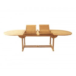 Brompton Extending 2 - 3m Table, Double Leaf, Teak