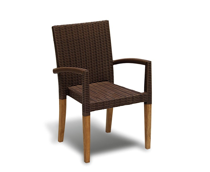 Canfield round teak table 6 st tropez stacking rattan chairs set - Round teak table and chairs ...