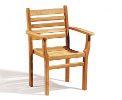 Yale Teak Outdoor Stacking Armchair, Stackable Chair