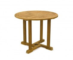 Canfield Teak Fixed Round Outdoor Patio Dining Table – 0.9m