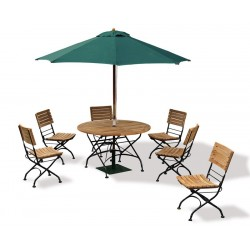 Teak Folding Bistro Round 1.2m Table & 6 Side Chairs