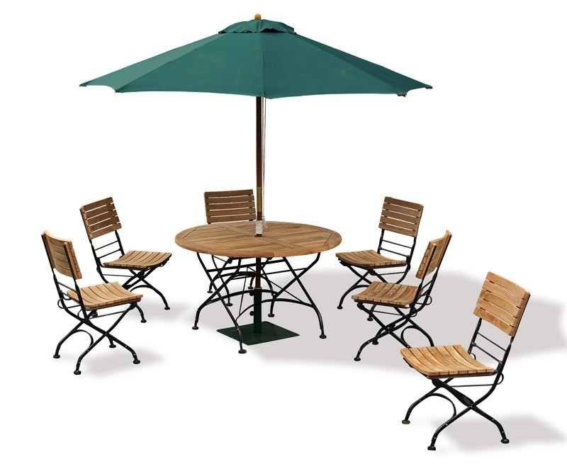 Bistro Round 1 2m Table & 6 Chairs Teak & Metal Folding Dining Set