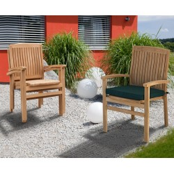 Bali Teak Outdoor Stacking Chairs with cushion