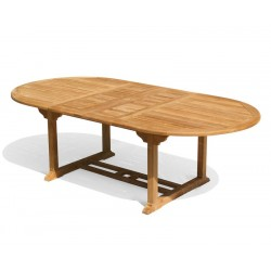 Brompton Teak Oval Extending Garden Table 1.2x1.8-2.4m