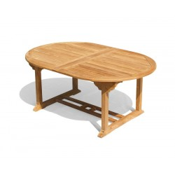 Brompton Teak Oval Extending Outdoor Table, closed position