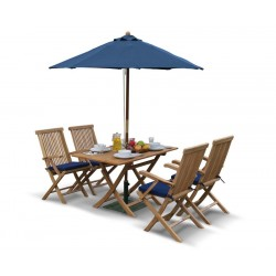 Rimini Rectangular 1.2m Table & 4 Ashdown Folding Armchairs