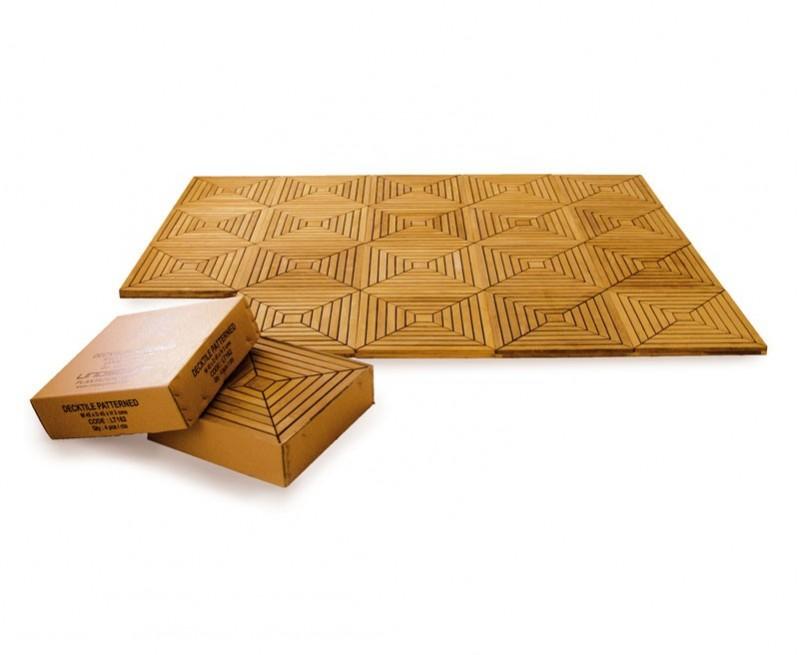 Set of 4 Teak Decking Tiles – Patterned