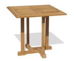 Canfield Small Fixed Teak Square Garden Patio Dining Table – 0.8m