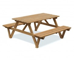 Luxury 5ft Picnic Bench, Wooden Pub Bench, Teak – 1.5m