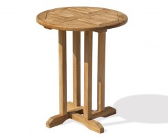 Canfield Small Teak Round Garden Patio Dining Table – 0.6m