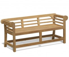 Teak Lutyens-Style Garden Bench, Low Back – 1.65m