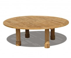 Titan Teak Round Outdoor Patio Dining Table, Round Leg – 2.2m
