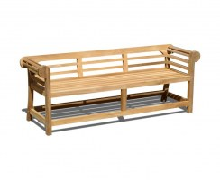 Teak Lutyens-Style Garden Bench, Low Back – 1.95m