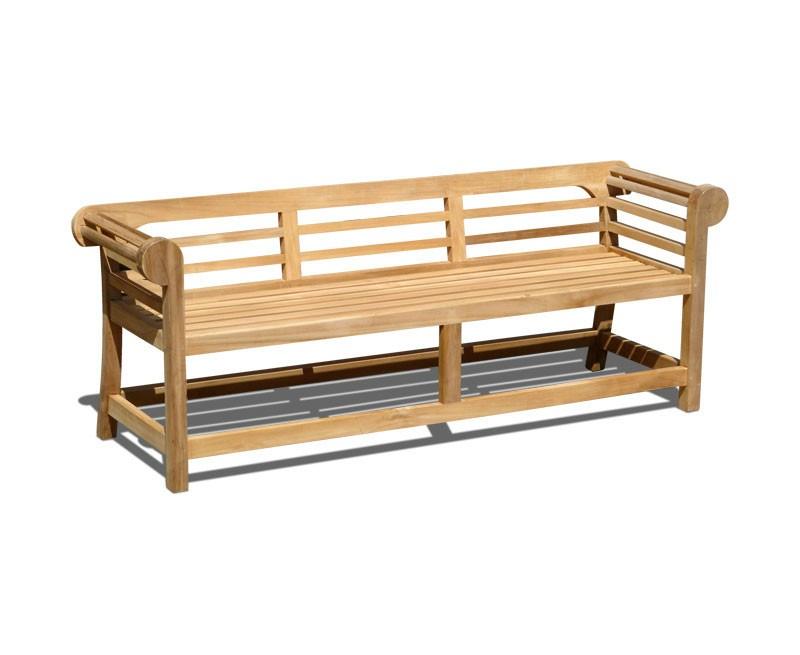 Teak Lutyens-Style Garden Bench, Low Back – 1.95m