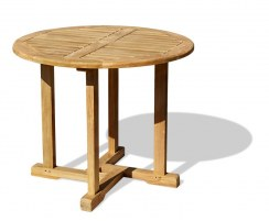 Canfield Small Teak Round Garden Patio Dining Table – 0.8m