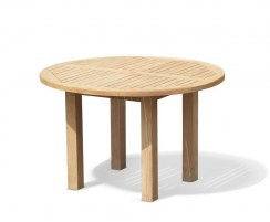 Titan Teak Round Outdoor Patio Dining Table, Square Leg – 1.2m