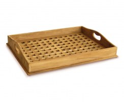 Teak Serving Tray, crossed slats