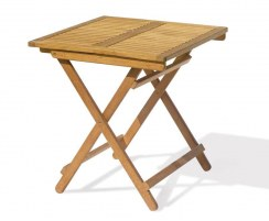 Rimini Folding Garden Table, Square, Teak – 0.7m