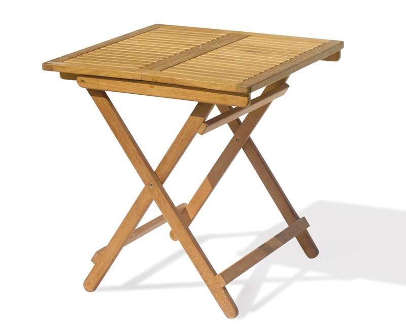 Rimini Folding Garden Table, Square, Teak – 0.7m