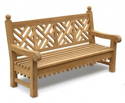 Chiswick 6ft Teak Lattice Decorative Bench – 1.8m