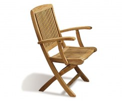 Rimini Folding Garden Armchair, Teak Outdoor Chair