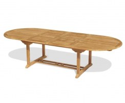 Brompton Teak Oval Double Extending Dining Table – 1.2 x 2 - 3m