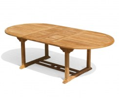 Brompton Teak Oval Double Extending Dining Table – 1.2 x 1.8 - 2.4m