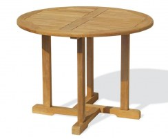Canfield Fixed Teak Round Garden Patio Dining Table – 1.1m