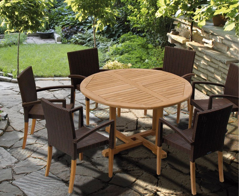 Canfield Round Teak Table Amp 6 St Tropez Stacking Rattan