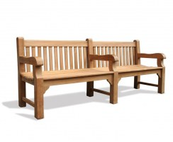 Balmoral Large Heavy-Duty Teak Public Park Bench, 3 Arms – 2.4m