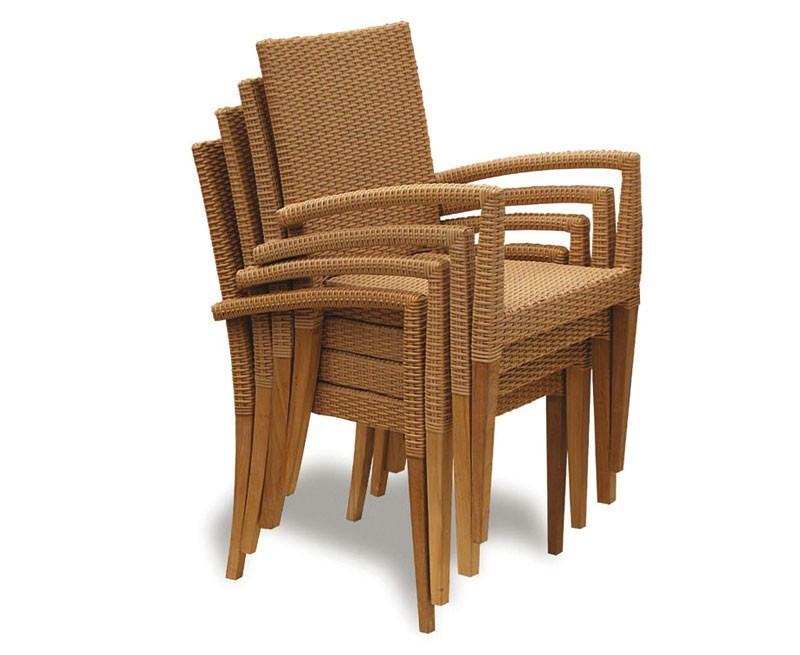 st tropez all weather rattan and teak stacking chair