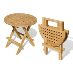 Small Folding Picnic Table, Round, chessboard slats