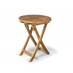 Suffolk Round Garden Table, Folding, Teak – 0.6m