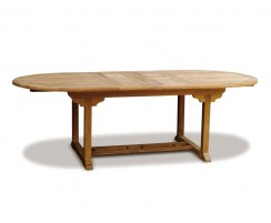 Brompton Teak Double Extending Garden Table, Oval – 1.8 - 2.4m