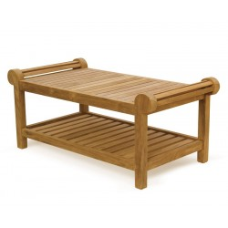 Teak Lutyens Coffee Table with shelf
