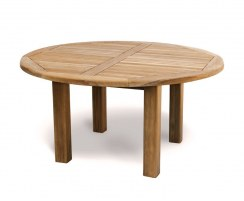 Titan Teak Round Outdoor Patio Dining Table, Straight Leg – 1.5m