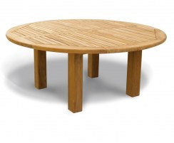 Titan Teak Round Outdoor Patio Dining Table, Straight Leg – 1.8m