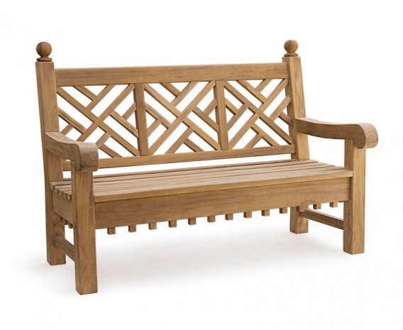 Chiswick 5ft Teak Decorative Lattice Bench – 1.5m