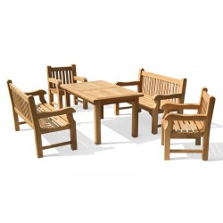 Balmoral Teak Dining Set w/ Rectangular 1.5m Table, Benches & Chairs