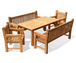 Balmoral Teak Dining Set w/ Rectangular 1.8m Table, Benches & Chairs