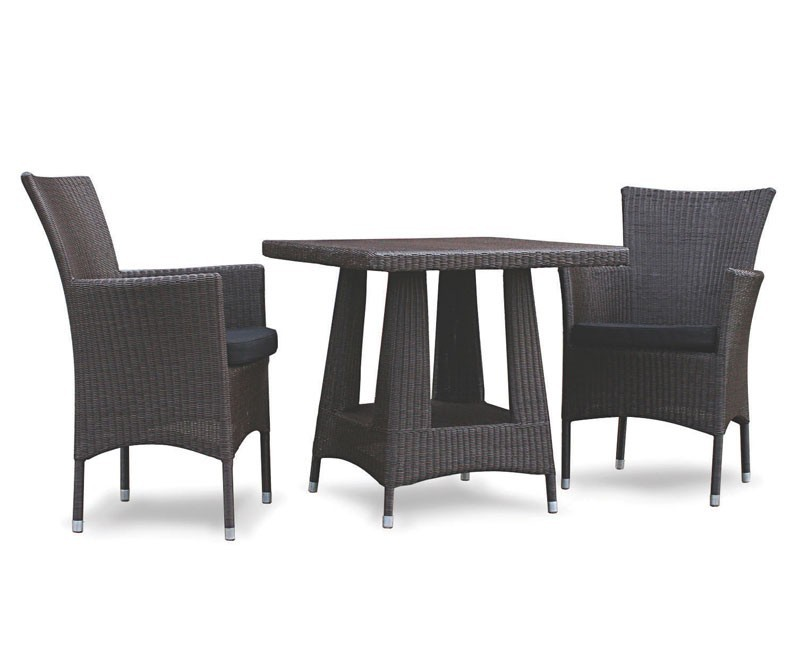 Riviera Rattan Set with Square 0.8m Table & 2 Armchairs, Black, Loom