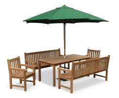 Sandringham Rectangular 1.8m Table & Windsor Benches & Chairs Set