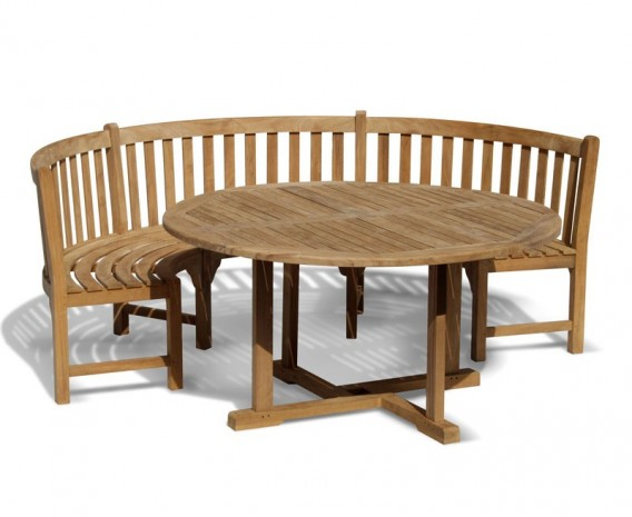 Canfield Round 1 2m Table Henley Curved Bench Teak Dining Set