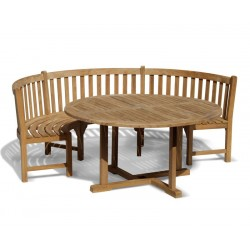 Canfield Round 1.2m Table & Henley Curved Bench, Teak Dining Set