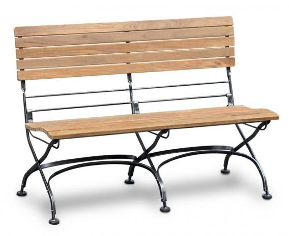 Folding Bistro Bench, Teak, Raven Black – 1.2m