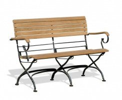 Folding Bistro Bench with arms, Teak, Raven Black – 1.2m