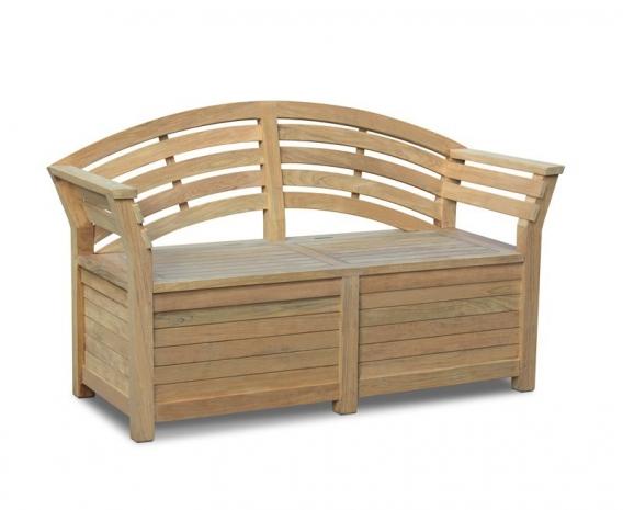 Salisbury Teak Storage Bench with arms – 1.65m