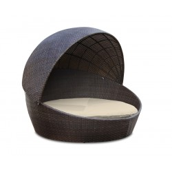 Oyster Shell Round Outdoor Rattan Daybed with Canopy